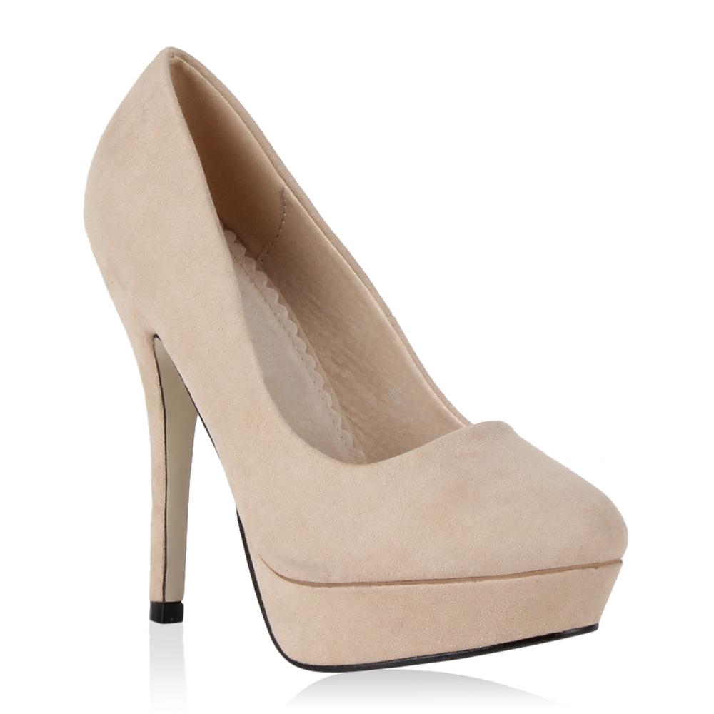 Damen Pumps High Heels - Creme