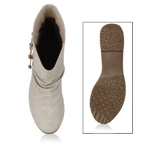 Damen Stiefeletten Cowboy Boots - Creme