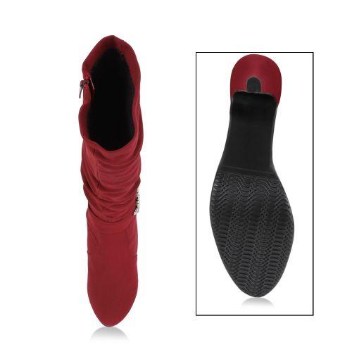 Damen Stiefel High Heels - Dunkelrot