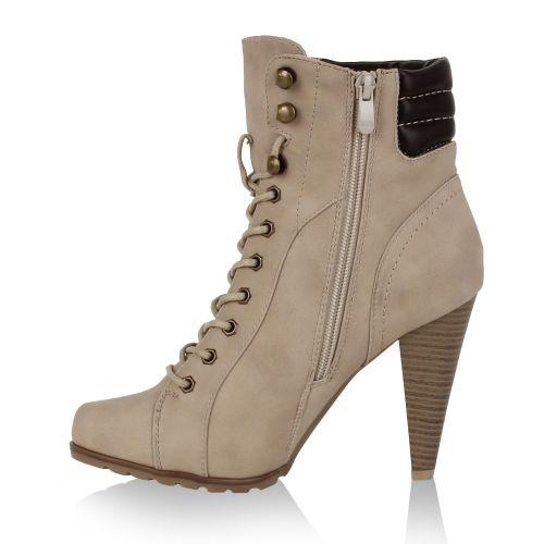 Damen Stiefeletten High Heels - Creme