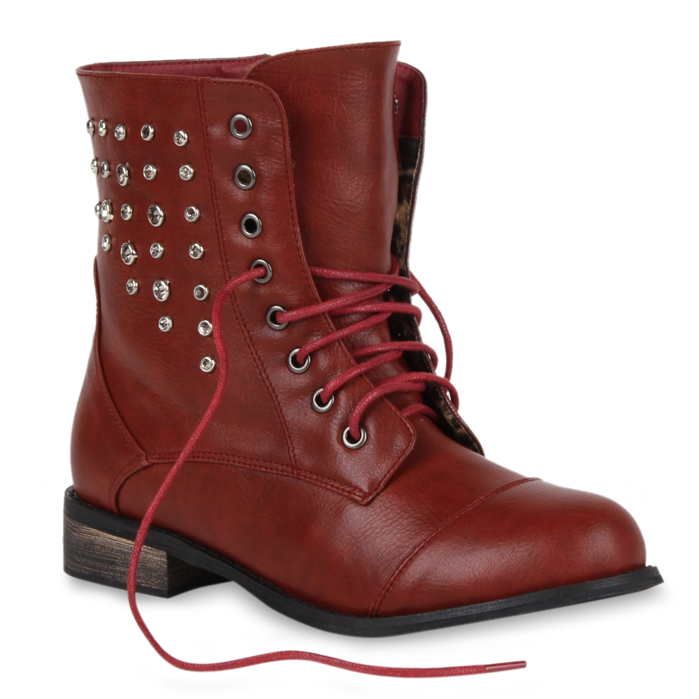 Damen Stiefeletten Worker Boots - Dunkelrot