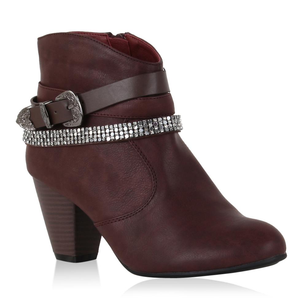 Damen Stiefeletten Cowboy Boots - Dunkelrot