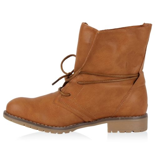 Damen Stiefeletten Worker Boots - Tan