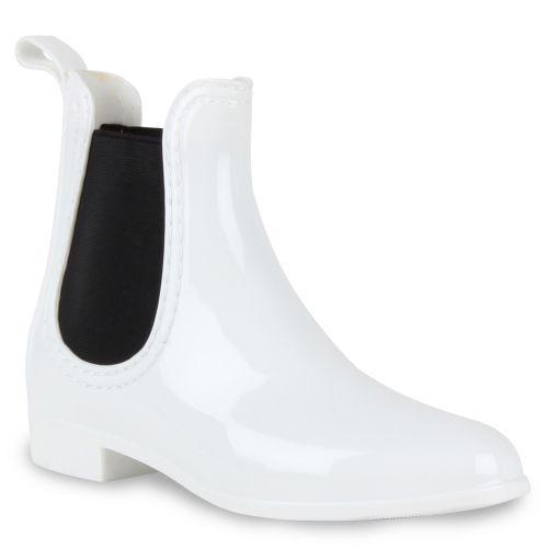 Damen Stiefeletten Gummistiefeletten - Weiß
