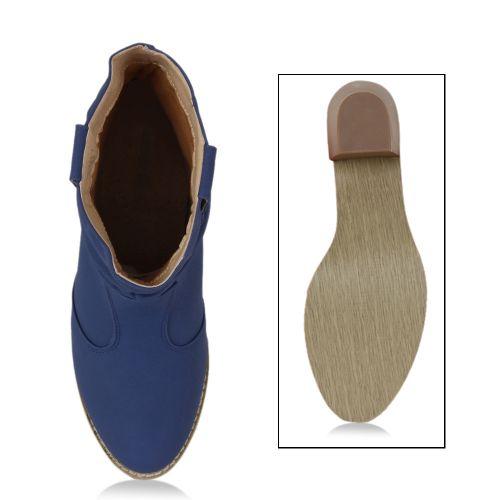Damen Stiefeletten Cowboy Boots - Blau
