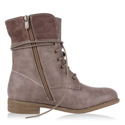Damen Stiefeletten Worker Boots - Taupe