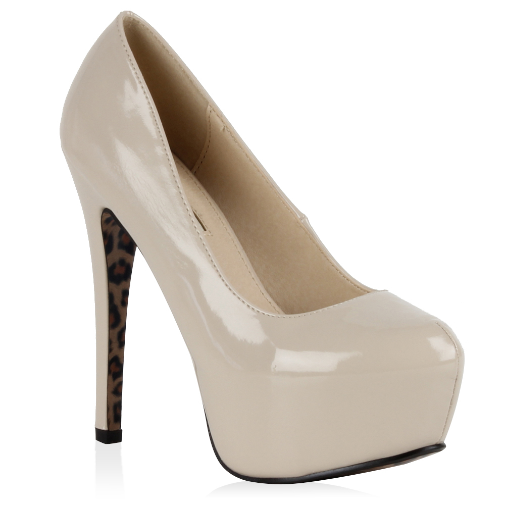 Damen Plateau Pumps - Nude