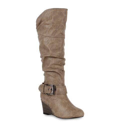 Damen Stiefel Keilstiefel - Taupe