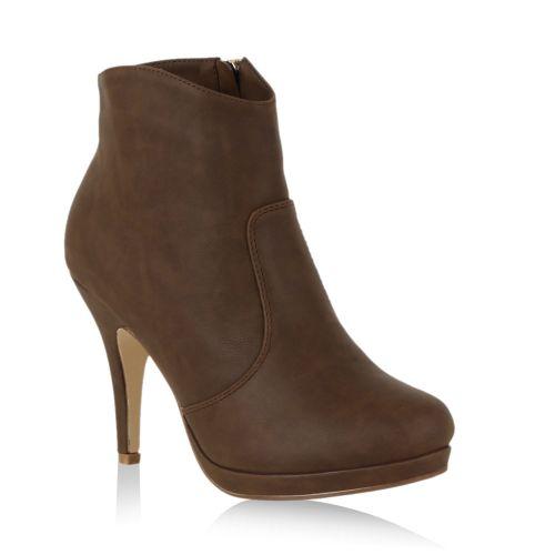 Damen Stiefeletten Plateau Boots - Olivbraun