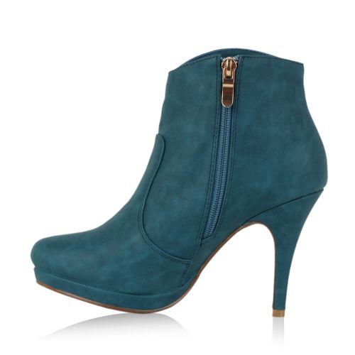 Damen Stiefeletten Plateau Boots - Türkis