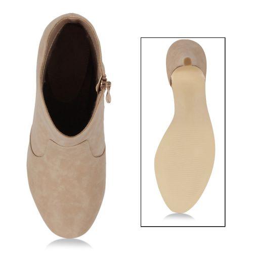 Damen Stiefeletten Plateau Boots - Beige