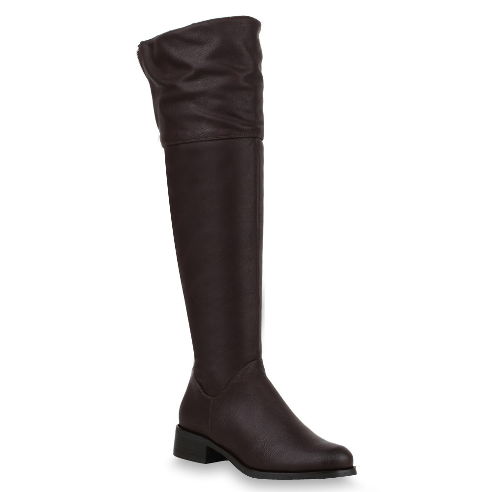 Damen Stiefel Overknees - Coffee
