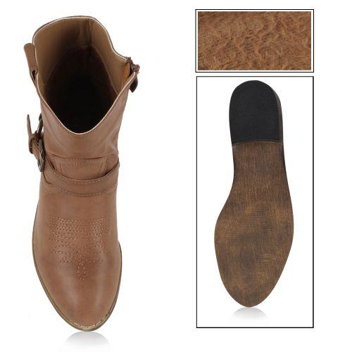 Damen Stiefeletten Cowboy Boots - Hellbraun