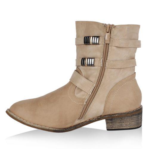 Damen Stiefeletten Biker Boots - Beige