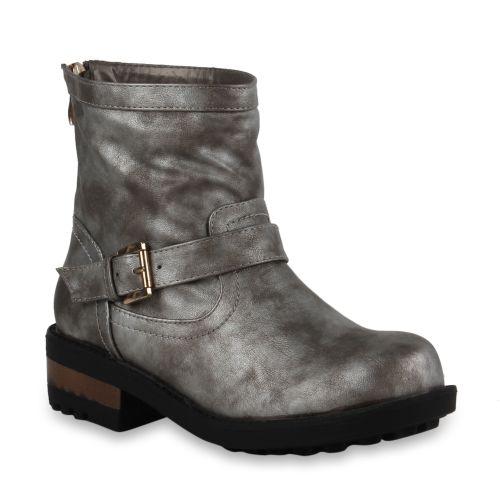 Damen Stiefeletten Biker Boots - Silber