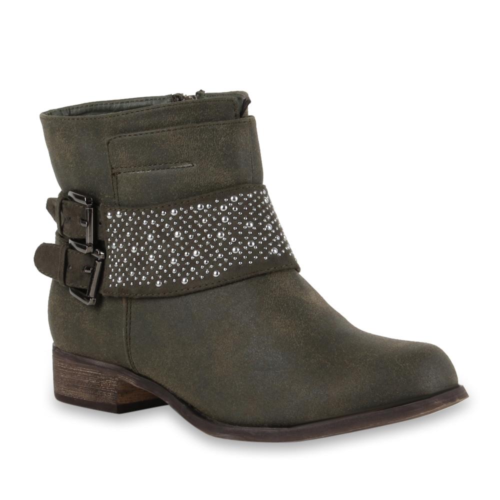 Damen Stiefeletten Biker Boots - Olivgrün