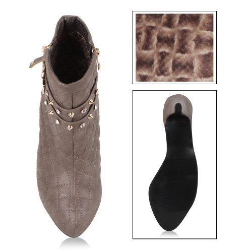 Damen Stiefeletten High Heels - Taupe