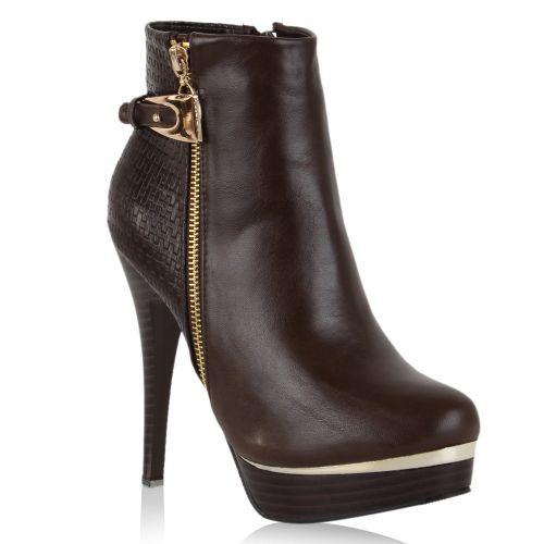 Damen Stiefeletten Plateau Boots - Mokka