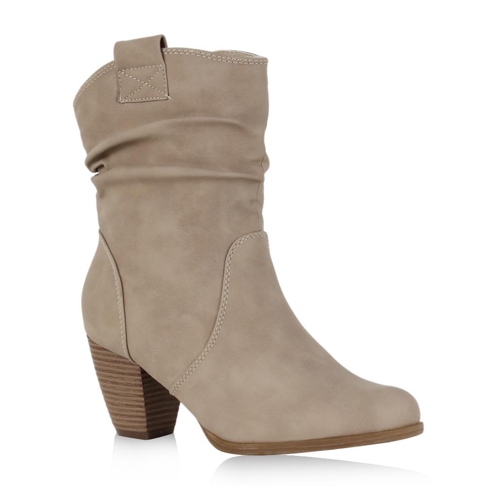 Damen Stiefeletten Cowboy Boots - Beige