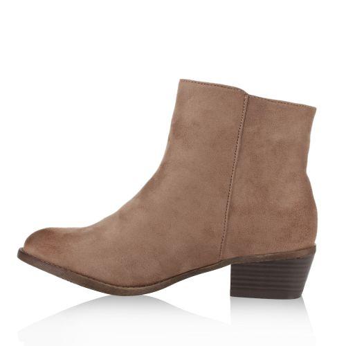 Damen Stiefeletten Ankle Boots - Stone