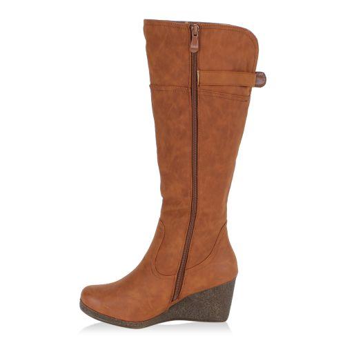 Damen Stiefel Keilstiefel - Braun