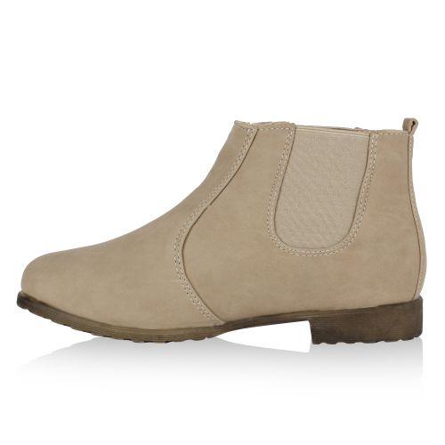 Damen Stiefeletten Chelsea Boots - Beige