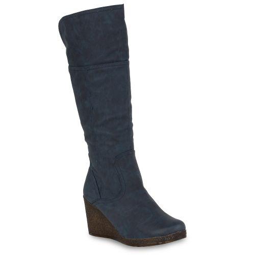 Damen Stiefel Keilstiefel - Blau