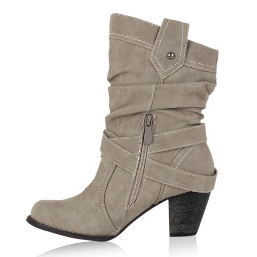 Damen Stiefeletten Cowboy Boots - Stone