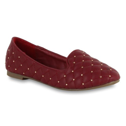 Damen Slippers Loafers - Dunkelrot
