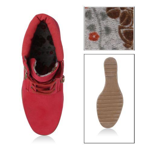 Damen Stiefeletten Keilstiefeletten - Rot