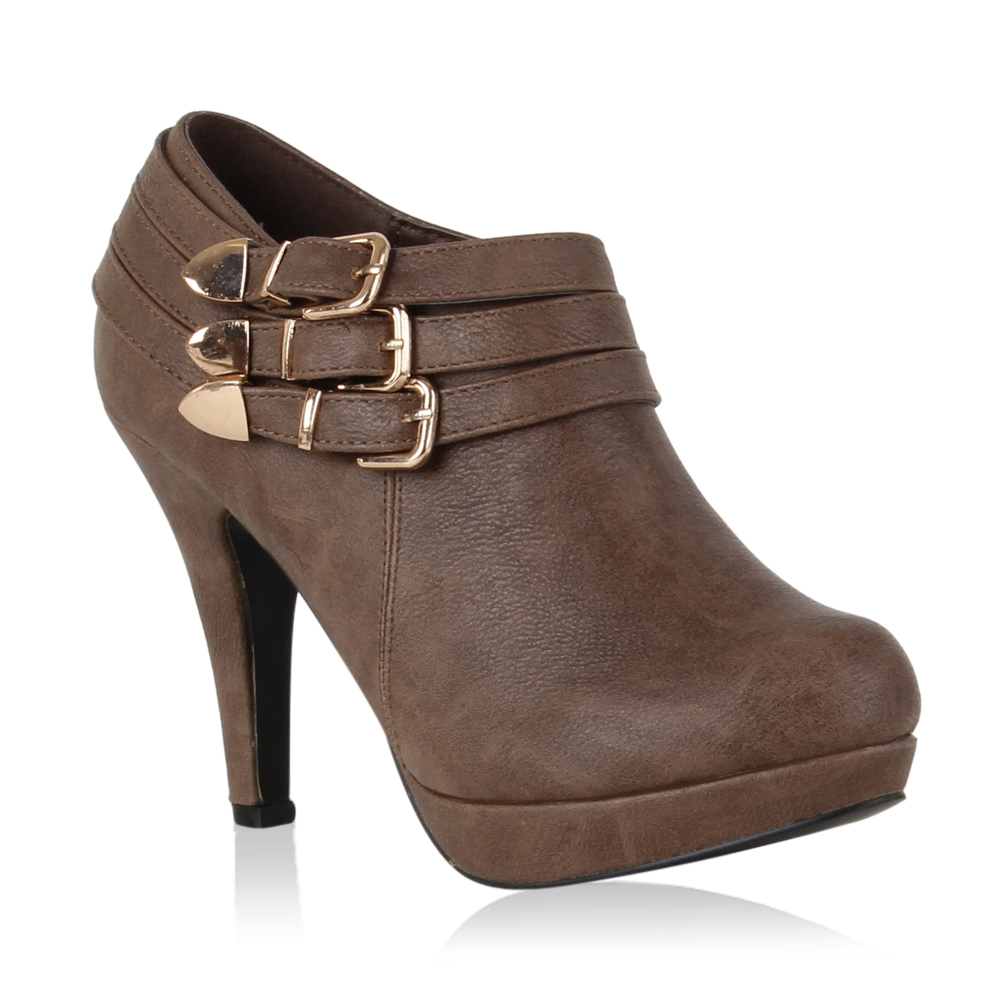 Damen Pumps Ankle Boots - Taupe