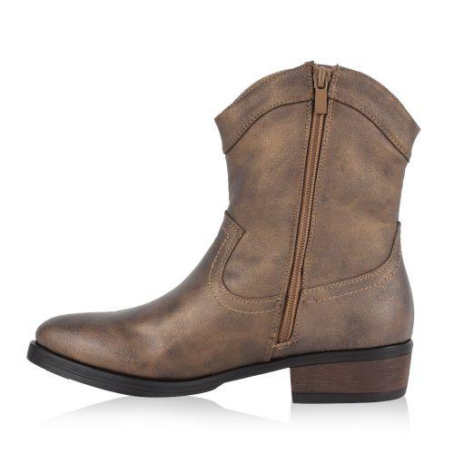Damen Stiefeletten Cowboy Boots - Bronze
