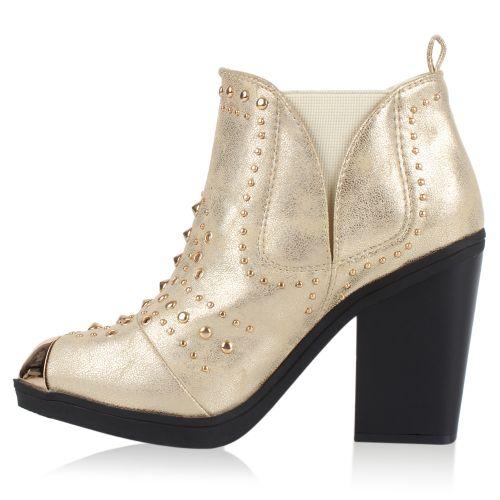 Damen Stiefeletten Plateau Boots - Gold