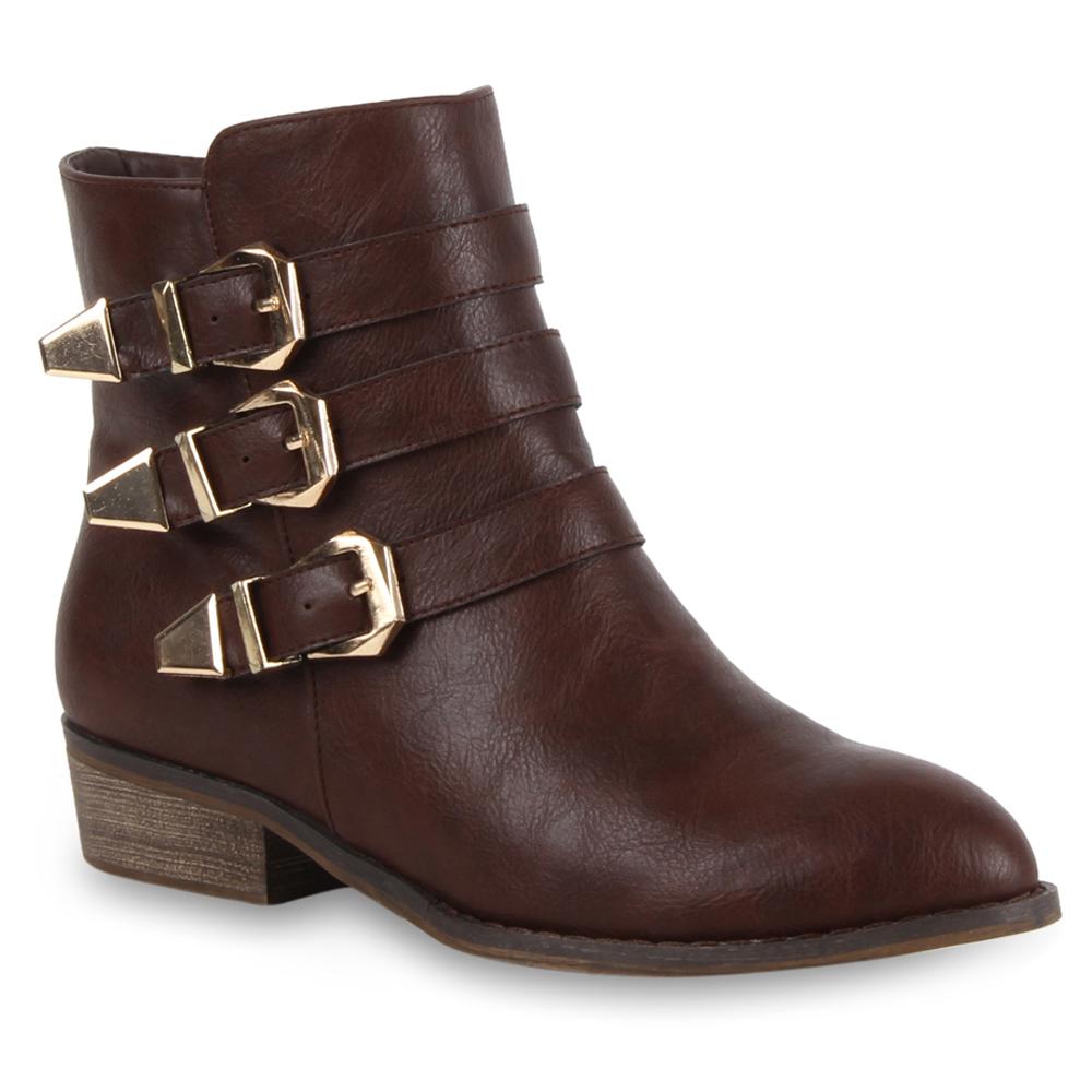 Damen Stiefeletten Cowboy Boots - Dunkelbraun