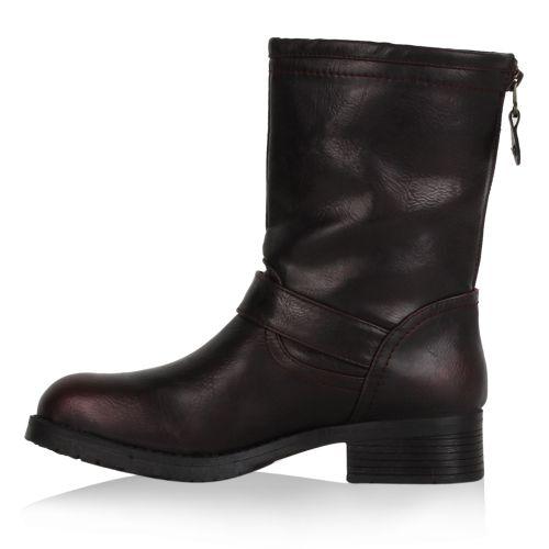 Damen Stiefeletten Biker Boots - Dunkelrot