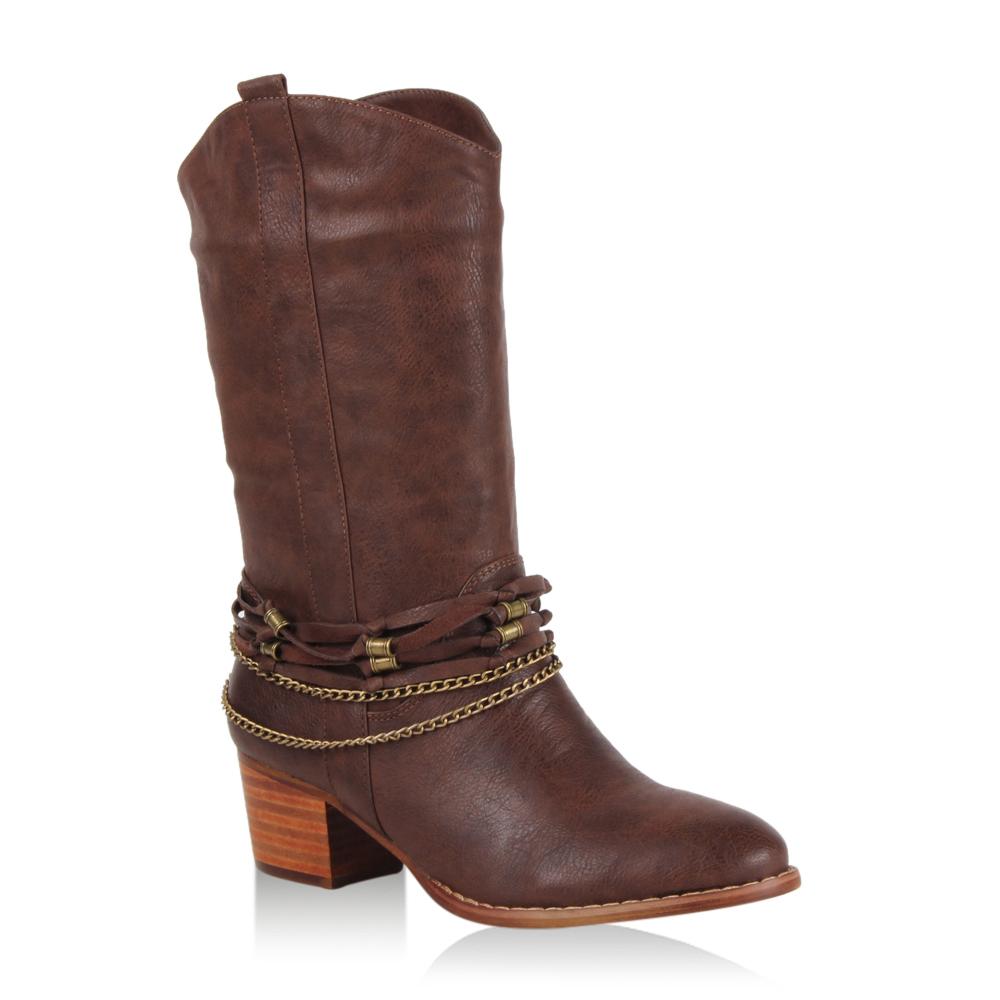 Damen Stiefel Cowboystiefel - Schlamm