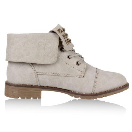 Damen Stiefeletten Worker Boots - Hellgrau