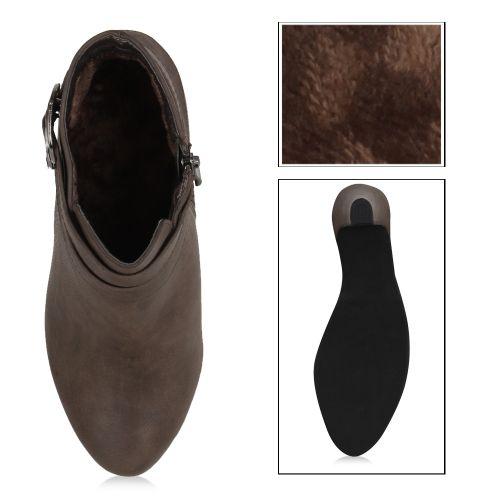 Damen Stiefeletten Plateau Boots - Olivgrün