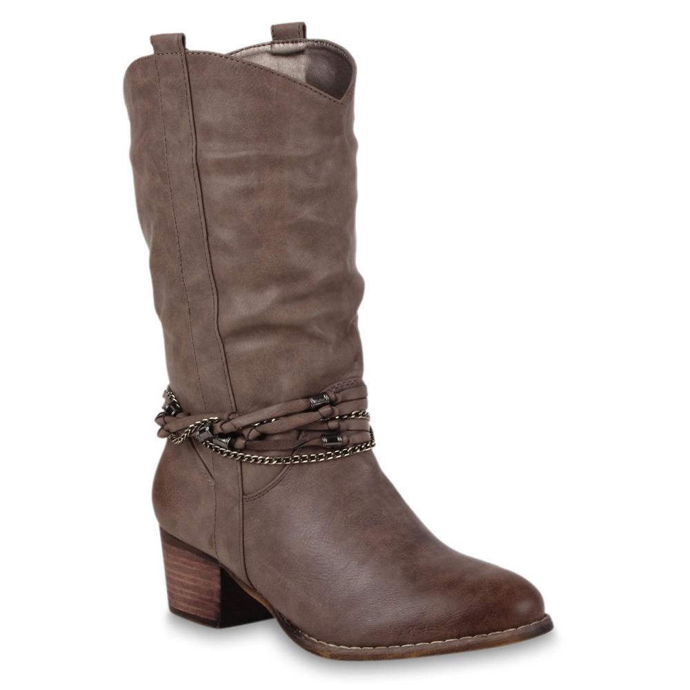 Damen Stiefel Cowboystiefel - Taupe