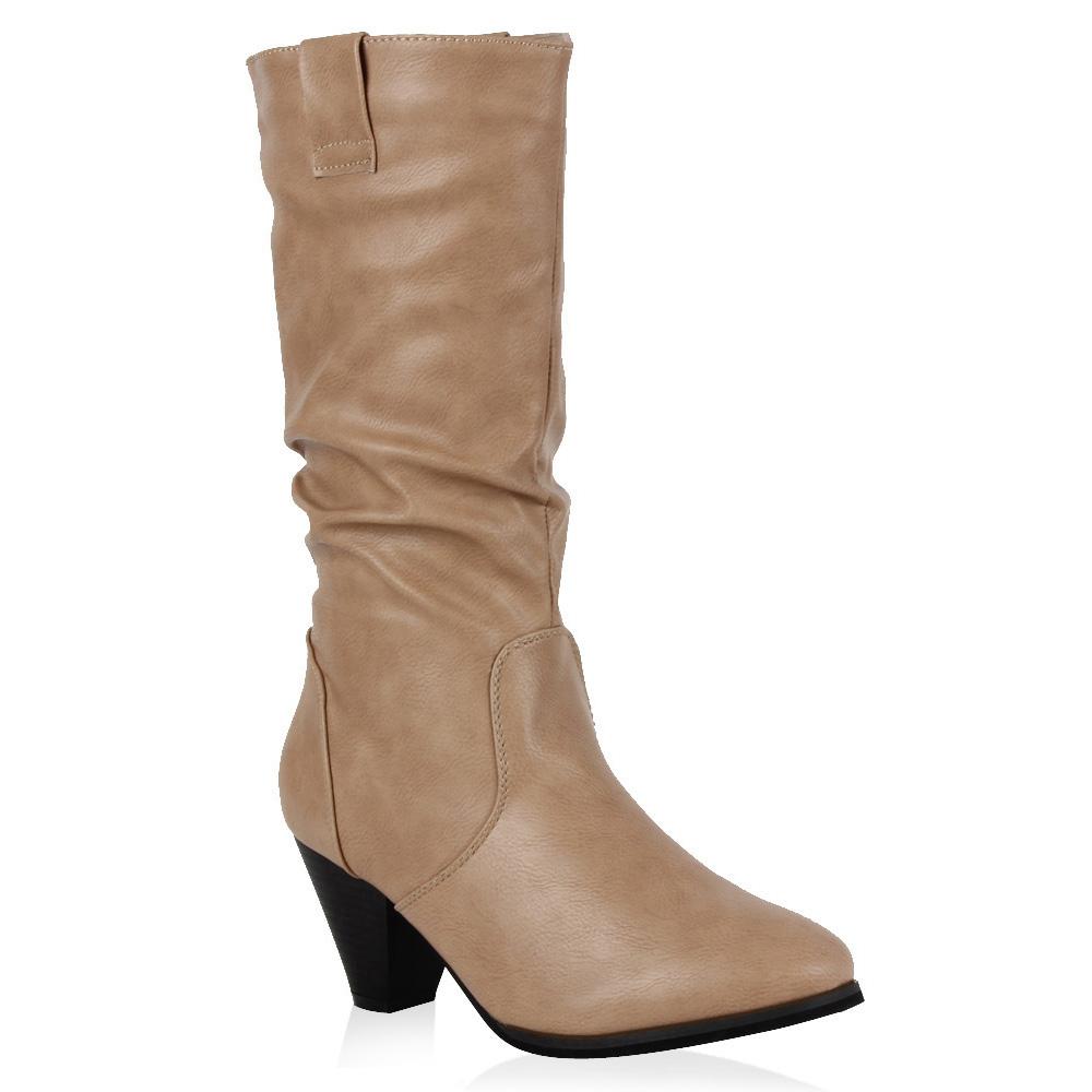 Damen Stiefel Cowboystiefel - Creme