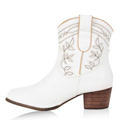 Damen Stiefeletten Cowboy Boots - Weiß