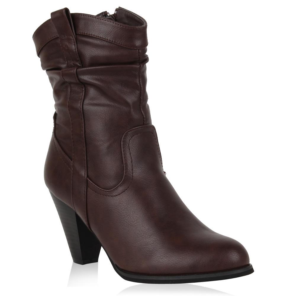 Damen Stiefeletten Cowboy Boots - Mokka
