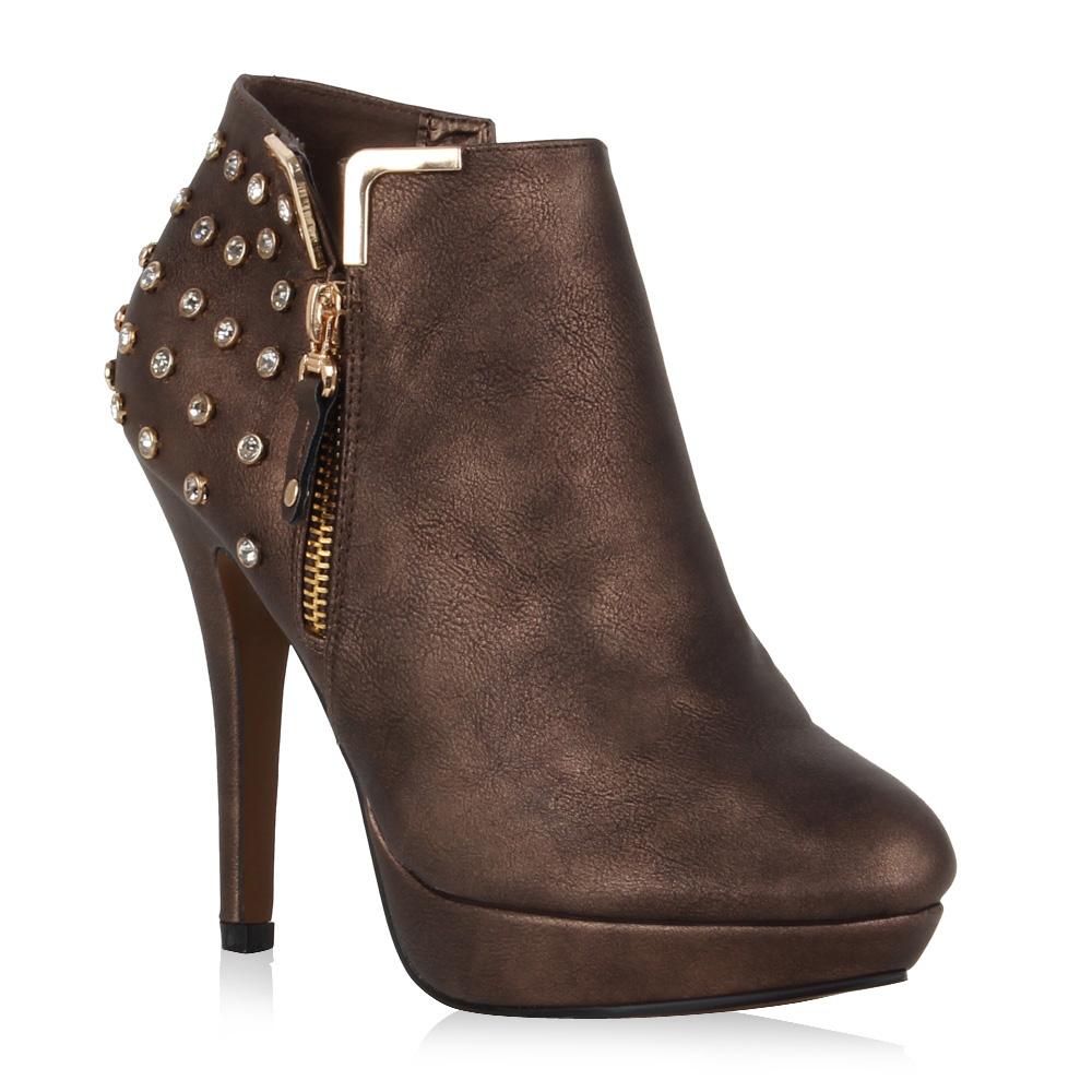 Damen Stiefeletten Ankle Boots - Bronze