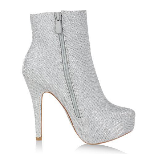 Damen Stiefeletten Plateau Boots - Silber