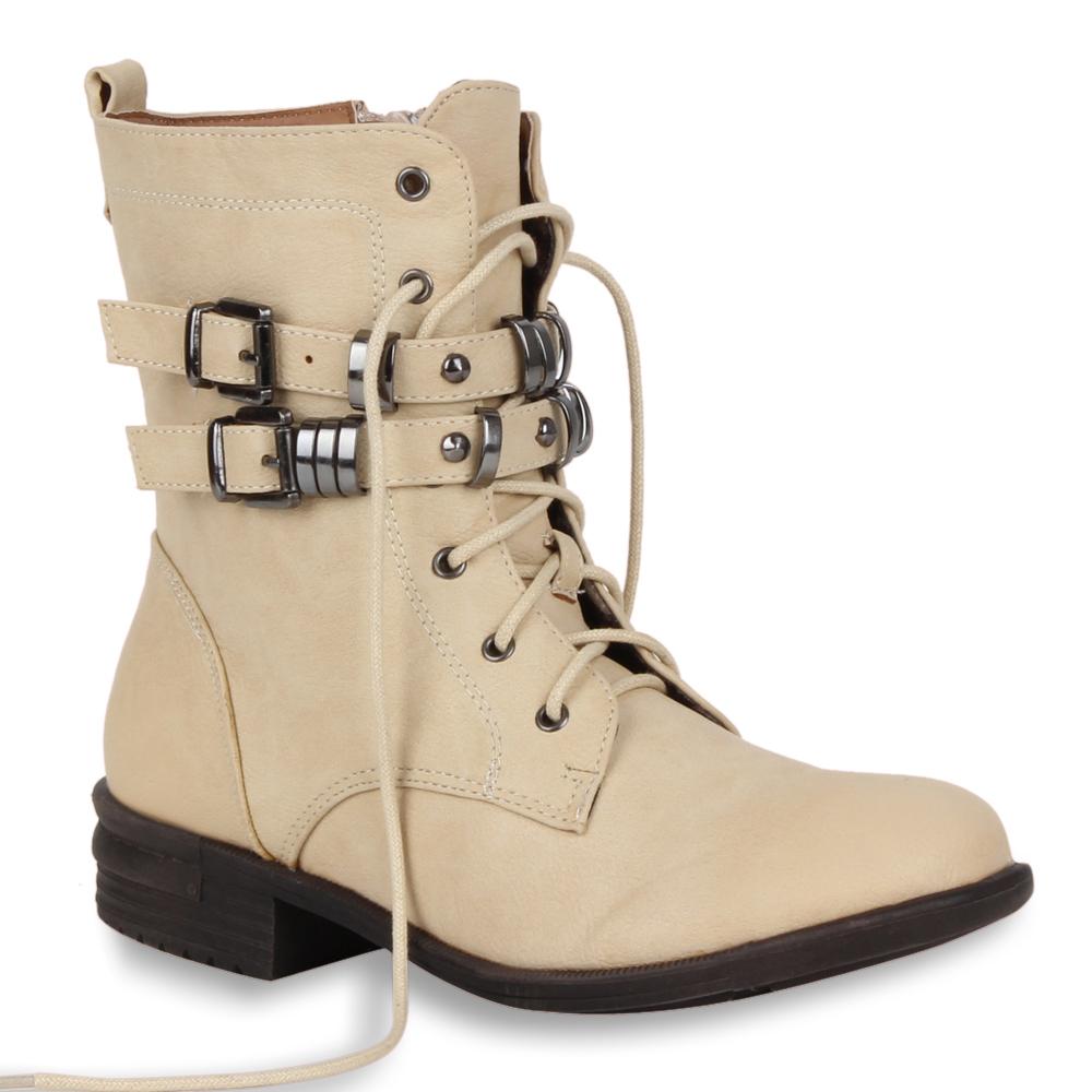 Damen Stiefeletten Worker Boots - Beige