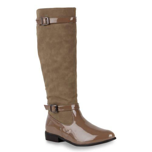Damen Stiefel Reiterstiefel - Khaki
