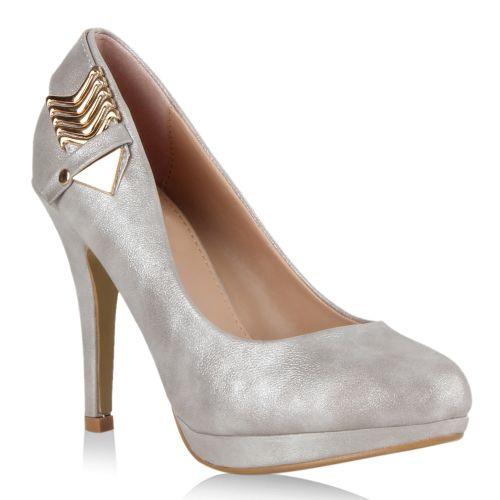 Damen Pumps High Heels - Silber