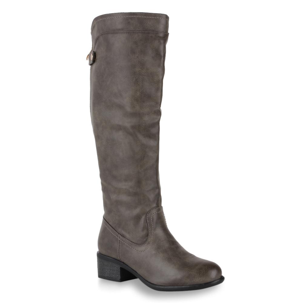 Damen Stiefel Reiterstiefel - Grau
