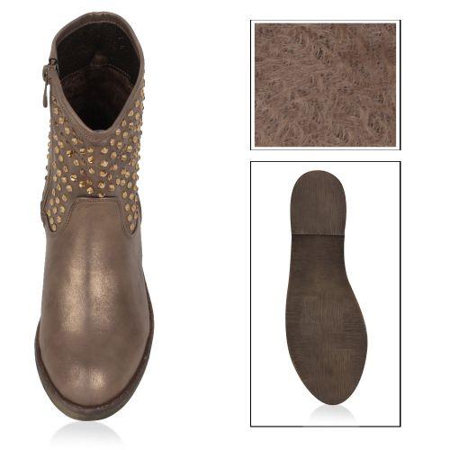 Damen Stiefeletten Biker Boots - Bronze