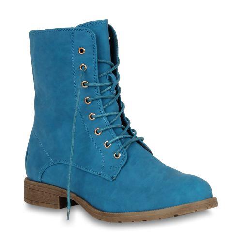 Damen Stiefeletten Worker Boots - Türkis